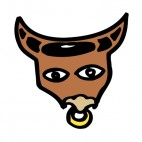 Bull with nose earring figure, decals stickers