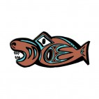 Blue and brown fish with mouth open figure, decals stickers