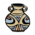 Beige vase with brown and blue drawing artifact, decals stickers