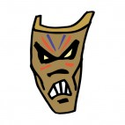 Aboreginal brown angry face mask, decals stickers