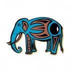 Blue elephant with brown and black drawing figure, decals stickers