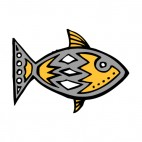 Grey fish with yellow and white drawing figure, decals stickers
