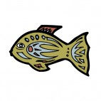 Green fish with blue and brown drawing figure, decals stickers
