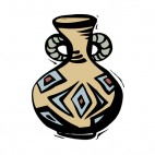 Beige with brown and blue drawing carafe artifact, decals stickers