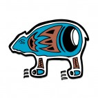 Blue bear with black and brown drawing figure, decals stickers