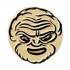 Beige angry old man mask, decals stickers