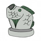 Grey and green with mouth open fish figure, decals stickers