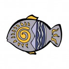 Grey and blue fish with yellow and white drawing figure, decals stickers