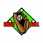 Baseball glove with diamond field logo, decals stickers