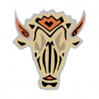Beige and black bull head with brown horns figure, decals stickers