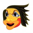 Angry yellow with black hair mask, decals stickers