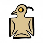 Beige bird with yellow eyes figure, decals stickers