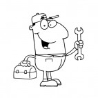 Smiling repairman holding wrench and toolbox, decals stickers