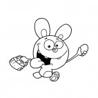 Rabbit holding basket and egg running, decals stickers
