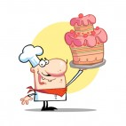 Proud chef holding up pink cake yellow backround, decals stickers