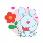 Blue bunny holding red flower and hearts around, decals stickers