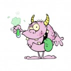 Pink monster creature holding flask, decals stickers