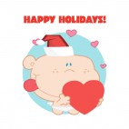 Happy holidays  cupid with santa hat holding heart, decals stickers