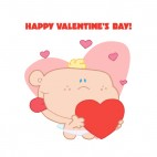 Happy valentine day cupid holding heart with hearts around, decals stickers