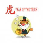 Year of the tiger tiger with pot of gold , decals stickers