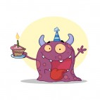 Purple monster celebrating birthday with cake, decals stickers