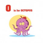 O is for Octopus  purple octopus with red hat smiling, decals stickers
