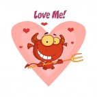 Love me happy little devil with pitchfork, decals stickers