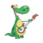 Green dinosaur playing guitar, decals stickers