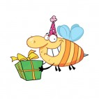 Bee with purple party hat carrying gift, decals stickers