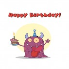 Purple monster celebrating birthday with cake , decals stickers