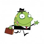 Green monster in suit with suitcase going to work, decals stickers