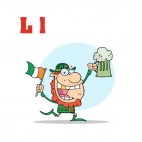 Alphabet L  leprechaun with irish flag and beer mug , decals stickers