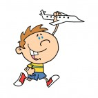 Boy holding airplane toy in his hand running, decals stickers