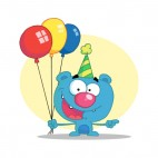 Blue bear with green party hat and balloons, decals stickers