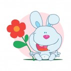 Blue bunny holding red flower   pink backround, decals stickers