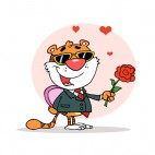 Tiger with suit holding chocolate box and red flower , decals stickers