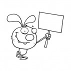Easter rabbit holding blank sign , decals stickers