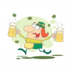 Woman leprechaun walking with two pints of beer, decals stickers