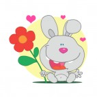 Grey bunny holding red flower and hearts around, decals stickers