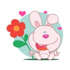 Pink bunny holding red flower and hearts around , decals stickers