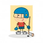 Kid with blue helmet playing hockey beige backround, decals stickers