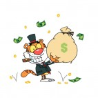 Tiger in suit with cigar in mouth holding bag of money, decals stickers