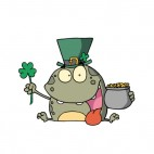 Frog with irish hat holding clover leaf and pot of gold, decals stickers