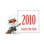 Tiger presenting sign with 2010 year of the tiger sign, decals stickers