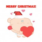 Merry christmas cupid with santa hat holding heart , decals stickers
