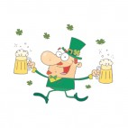Man leprechaun walking with two pints of beer , decals stickers
