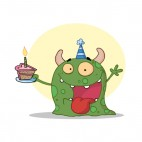 Green monster celebrating birthday with cake , decals stickers