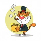Tiger smoking cigar holding pot of gold, decals stickers