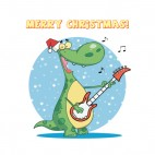 Merry christmas dinosaur with santa hat playing guitar , decals stickers