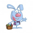 Blue easter bunny with easter egg basket waving , decals stickers